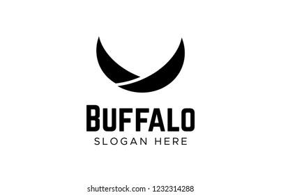 cow steak premium logo. Bull horns line icon symbol.