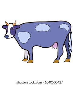 A cow with an udder. Illustration in purple tones. Isolated image on white background. Raster.