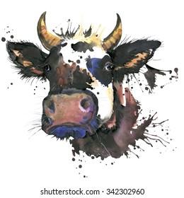 Cow watercolor illustration. farm animals. domestic prts. nature.