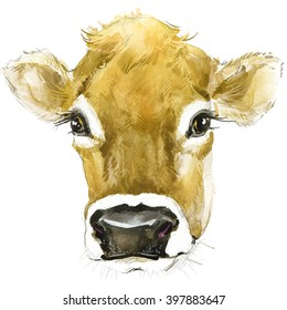 Cow watercolor illustration. farms animal. Cute domestic pet