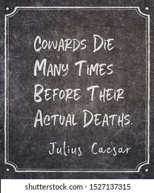cowards die many times before their actual deaths - ancient Roman politician and military general Julius Caesar quote written on framed chalkboard