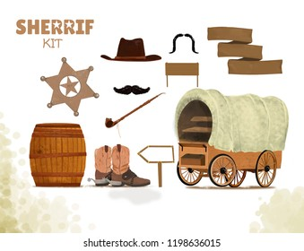 cowboy background with western boots and cart west hat and barrel, tube of peace, mustache, ribbon Sheriff kit on white background