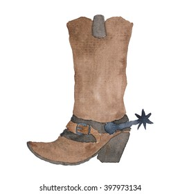 Cowboy Boot Watercolor Illustration
