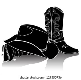 Cowboy boots and hat.Raster