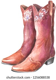 Cowboy boots. Watercolor painting isolated on white background.