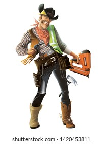 Cowboy builder man with a construction tool