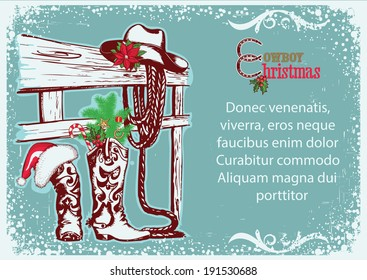 Cowboy Christmas background for text with cowboy boots and hat.Raster
