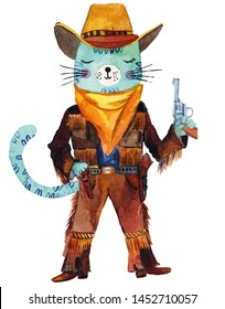 Cowboy cute cat. Watercolor hand painted illustration on white background.