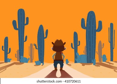 Cowboy and Desert. Creative Idea, Innovative art, Concept Illustration, Greeting Card Background, Cartoon Style Artwork