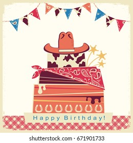 Cowboy happy birthday party card with cake and cowboy hat.Retro illustration on old paper background with text.Raster