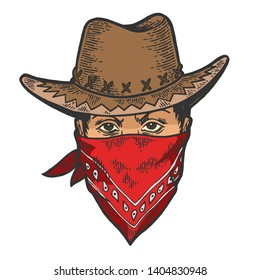 Cowboy head in bandit gangster mask bandana color sketch line art engraving raster illustration. Scratch board style imitation. Hand drawn image.
