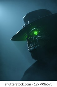Cowboy in an iron skull mask with green luminous eyes. Undead gunslinger Cowboy. Halloween costume. Old west bandit. Creative cover design for the western world. 3D rendering