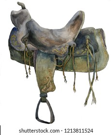 Cowboy leather saddle from the wild west. Watercolor illustration on white background
