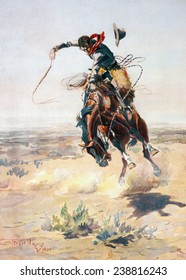 Cowboy on a bucking bronco, 'A Bad Hoss', photomechanical print by Charles M. Russell, 1905
