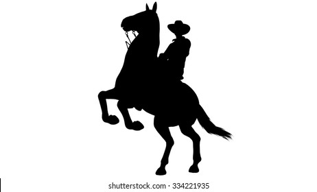 Cowboy on Horse silhouette on white background
