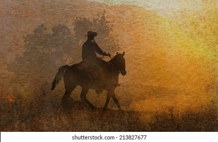 A cowboy riding his horse in a watercolor textured artistic background.