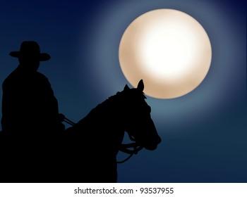 Cowboy riding a horse at night
