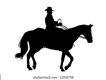 cowboy riding horse on white background