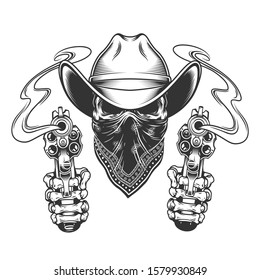 Cowboy skull with scarf on face and skeleton hands holding pistols in vintage style isolated illustration
