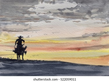 Cowboy and sunset watercolor painting