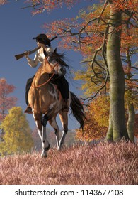 A cowgirl rides on her paint horse over dry fall grass. She carries a rifle, resting on her shoulder.  Around her trees sport their autumn foliage underneath a deep blue sky. 3D Rendering