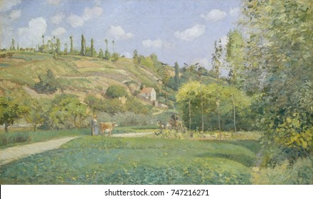 Cowherd at Valhermeil, Auvers-sur-Oise, by Camille Pissarro, 1874, French impressionist oil painting. The looser, smaller brushstrokes and lighter palette are typical of impressionist style