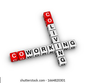Co-working and co-living 3D crossword puzzle on white background