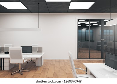 Coworking office interior with furniture. Style, design and workplace concept. 3D Rendering