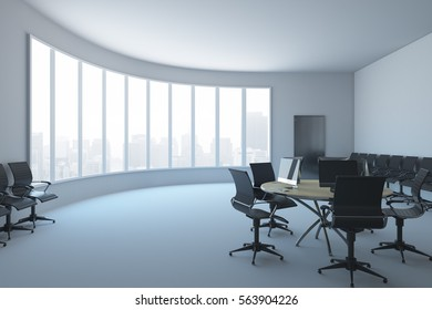 Coworking Office Interior With Wooden Desk And Computers. 3D Rendering