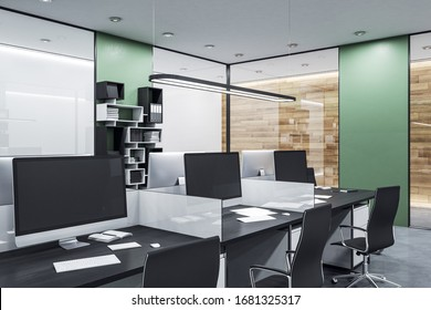 Coworking office in loft style with computers. Workplace and lifestyle concept. 3D Rendering