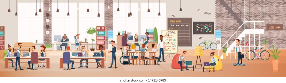 Coworking Workspace. Office Fun. People Work in Office. Happy Workers in Workplace. Men and Women Work. Corporate Culture in Company. Cheerful Working Day. Flat Illustration.