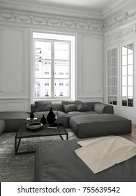Cozy apartment living room interior corner with grey upholstered sofa, a mirror, bright window and classical ceiling moldings. 3d rendering