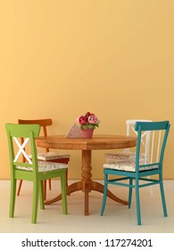 The cozy arrangement in the style of Provence with four different chairs around a wooden table on a background of bright orange wall