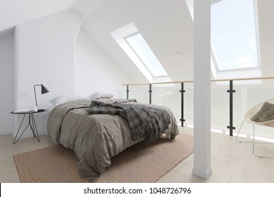 cozy attic bedroom 3d rendering