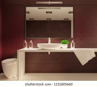 Cozy bathroom interior with a mirrow. 3D rendering.