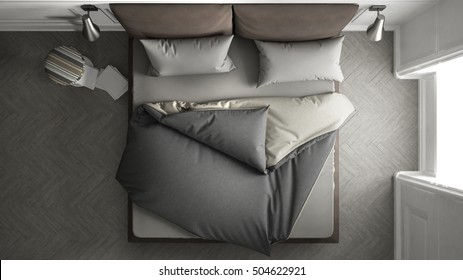 Cozy bed, top view, 3d illustration
