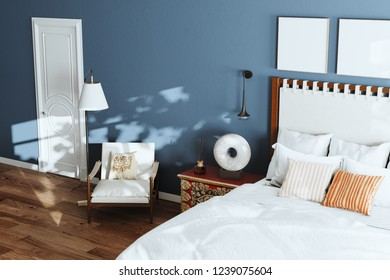 Cozy blue modern bedroom with lounge chair and floor lamp. 3d render close up