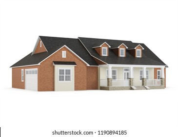 Cozy brick house isolated on white background. 3D rendering.