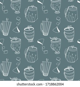 Cozy cute pattern of tea, coffee cups doodle art outline on a green background. Print for textiles, kitchen, menu, restaurants, stickers, banners, posters, web design, greeting card, sticky tape.