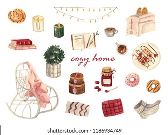 Cozy home. Cozy watercolor set with interior items, watercolor illustrations on white isolated background. Rocking chair and plaid, toaster, books, waffles, donuts, coffee, diary, flowers, pillows