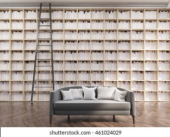 Cozy house library in modern apartment. Tall bookshelves, ladder and gray sofa. Concept of interesting reading. 3d rendering.