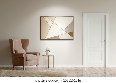 Cozy interior with beige armchair, coffee table, a picture on a beige wall, carpet on the parquet floor and a door. Front view. 3d illustration