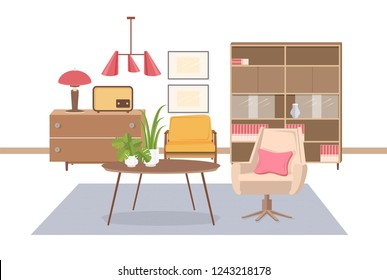 Cozy interior of living room furnished with old fashioned USSR or Soviet furnishings - armchair, coffee table, lamp, radio transmitter, sideboard, pendant light. Flat colorful illustration.