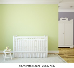 Cozy interior of nursery with white crib near green wall. Frontal view. 3d rendering.