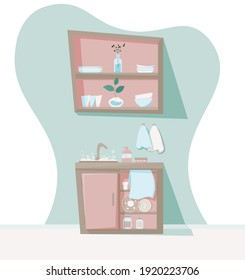 cozy kitchen interior during dishwashing