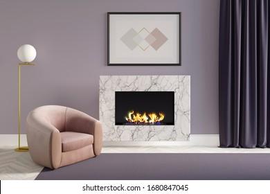 Ein gemütliches Wohnzimmer mit einem horizontalen Poster auf einem Kamin aus weißem Marmor, eine moderne Lampe neben einem rosafarbenen Sessel, ein violetter Teppichboden auf weißem Parkettboden und ein dunkelvioletter Vorhang. Vorderansicht.3D-Darstellung
