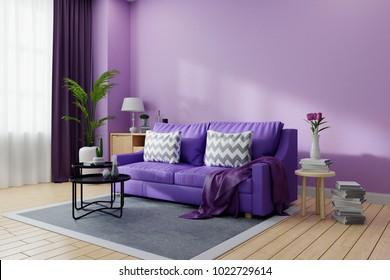 Cozy living room interior decoratedUltraviolet home decor concept purple sofa and black coofee & Purple Colour Images Stock Photos \u0026 Vectors | Shutterstock