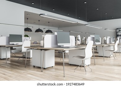Cozy and minimalistic style open space office with white furniture, wooden floor and computer monitors on tables. 3D rendering