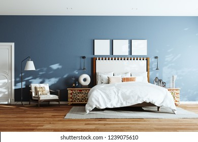 Cozy modern bedroom with lounge chair and floor lamp. 3d render wide