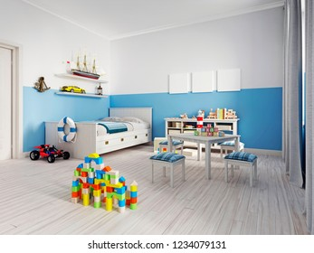 Cozy modern children's room decor with white furniture, floor and colorful additions and toys. 3d rendering